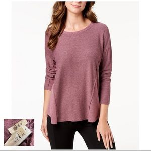 STYLE & CO NWT Pink Two Tone ColorBlock Marled Top